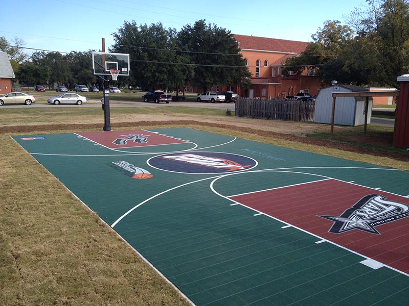 Half court basketball court dimensions for Sport court size
